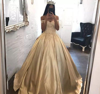 Wholesale Arabic Princess Style - 2018 Gold Quinceanera Dress Princess Arabic Dubai Styles Off Shoulder Sweet 16 Ages Long Girls Prom Party Pageant Gown Plus Size Custom Made