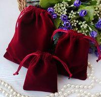 anéis artesanais grátis venda por atacado-Navio livre 100 pcs Handmade S M L Mais Grosso Melhor Qualidade Jóias De Veludo Brinco Anéis Sacos de Colar de Festa de Casamento Doces Xmas Sacos de Presente