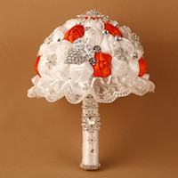 Wholesale Cheap Orange Bouquet - White And Orange Artificial Bridal Bouquet DIY Handmade Rose Romantic Wedding Flower With Crystal Rhinestone Luxury Flower Cheap