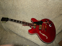 Wholesale Hollow Body Guitar Cheap - China guitar Red Custom guitar 6 gear switch Hollow Jazz Electric Guitar system Flame top OEM Cheap