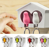 Wholesale Sparrow Hook - 2015 1Set Double Whistle Bird And House With Metal Key Ring Wall Hook Nest Key Holder Plastic Sparrow Metal Key Chains Set CYB50