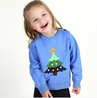 Wholesale american girl knit patterns resale online - INS styles new hot selling Girl kids autumn winter long sleeve Pure cotton Cartoon tree pattern knitted sweater for children