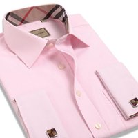 Wholesale Dress Shirts For Mens - Wholesale-New Arrival Long Sleeve Pink Tuxedo Shirt for Men Luxury Solid Color Formal French Cuff Shirt Men High Quality Mens Dress Shirts