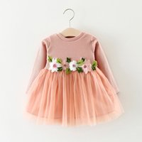 Wholesale Long Sleeve Leopard Lace Dress - Toddler Infant Baby Girls Dress Flower Long Sleeve A-line Tulle Dresses 0-3T