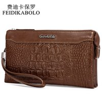 FEIDIKABOLO Fashion Alligator 3D Leather Men Wallets Man Embreagem Wallet PU Long Designer Marca Purse Male Money Clip Carteira 128