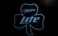 Wholesale Shamrock Light Sign - LA020-TM Miller Lite Shamrock Beer Bar Pub Neon Light Sign. Advertising. led panel.jpg