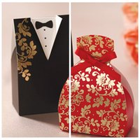 Wholesale Chinese Favor Boxes Cheap - Wholesale Candy Boxes Bride Groom Wedding Bridal Favor Holders Black Red Gift Box Gown Tuxedos Wedding Suppliers DIY Chocolate Package Cheap