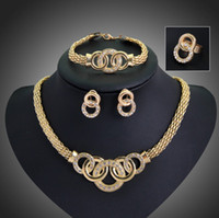 Wholesale Golden Ring 18k - Jewelry Sets Fashion Collar Statement Necklace Earrings Bracelet Rings Sets For Women Gold Plated Vintage Party Accessories