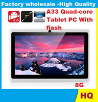 Wholesale Tablet Via Dhl - tablets android pc 7 inch A33 quad core Android 4.4 Tablet pc capacitive Q88 dual camera 512MB 8GB Projection Tablet PC With flash DHL FREE