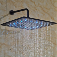 Wholesale Ceiling Shower Arm - Wall & Ceiling Mount 16 Inch Square LED Rainfall Shower Head Plumbing Fixtures Without Shower Arm ,Oil Rubbed Bronze