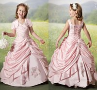 Wholesale Pearl Short Girl Jacket - Pearls Pink Girls Pageant Dresses With Jacket Tafetta Applique Ruffled Beaded Flower Girls Dresses For Wedding Children Girls Formal Gowns