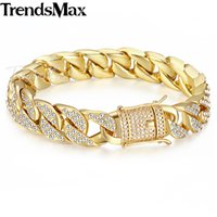 Hot Sale Miami Curb Cuban Link Mulheres Pulseira Mens Corrente Amarelo Ouro Cheio GF Hip Hop Iced Out 14mm KGB409