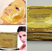 biyolojik nemlendirici kollajen maske toptan satış-Altın Bio-Kolajen Yüz Maskesi Yüz Maskesi Kristal Altın Tozu Kollajen Yüz Maskesi Nemlendirici Anti-aging meleğin Altın Maske Ücretsiz DHL UPS