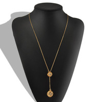 Wholesale Ball Jewellry - Pendant Necklaces 18k Gold Chains Fashion Jewelry Woman Ladies Double Hollow Out Ball Pendant Long Chain Tassels Necklace Jewellry Accessory