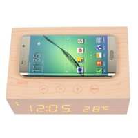 Wholesale Qi Alarm - Qi Wireless Charging Pad Mat Wooden Bluetooth Speakers Wireless Charger NFC Bluetooth Alarm Clock 5W Speakers X5