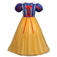 Wholesale Kids Wear Denim Dresses - Wholesale- Newborn Baby Girl Halloween Costume For Kids Girls In Cosplay Clothing Kids Carnival Party Wear Princess Infant Snow White Dress