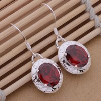 Wholesale Burgundy Crystal Earrings - Fashion (Jewelry Manufacturer) 20 pcs a lot Burgundy drill earrings 925 sterling silver jewelry factory Fashion Shine Earrings