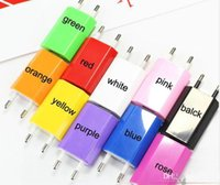 Wholesale Iphone 4s Charger Eu Color - 5V 1000mah Color EU US Plug USB Wall Charger AC Power Adapter for iphone 4 4S 5 5G ipad mini ipad2 USB Chargers cell phone tablet pc JF-7