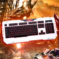 Atacado-Forev QWERTY LED Backlight Pro Esport Gaming Keyboard Mouse Óptico 6 botões USB Mice jogo Wired Set Combo Kit para PC