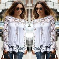 blusas brancas mistura de algodão venda por atacado-Blusas de algodão das mulheres brancas de primavera outono das senhoras designer de camisas de manga comprida oco floral vintage roupas femininas