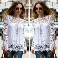 Wholesale Ladies Blouses For Spring - Spring Autumn Women's White Blouses Cotton Blend Designer Ladies Shirts Long Sleeve Hollow Floral Vintage Women's Clothing for AB024