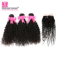 Wholesale afro kinky curly lace closure resale online - Yvonne Brazilian Kinky Curly Hair Bundles With Closure Afro Kinky Curly Virgin Hair Extension Cheap Curly Human Hair Weave