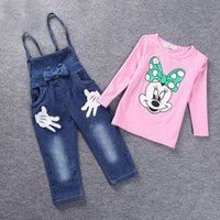 Wholesale Minnie Mouse Overall - New Girls Spring Clothes Girl Suits Minnie Mouse T-shirt + Demin Suspender Trousers Overalls Comfortable Kids Outfits Set White Pink