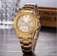 Wholesale geneva watches resale online - 2017 Luxury GENEVA Watches Womens Diamonds Watches Bracelet Ladies Designer Wristwatches Colors