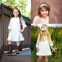 Wholesale Country Lovely - 2017 Boho Country Lace White Flower GIrls Dresses Jewel A Line Knee Length With Half Sleeves Lovely Communion Kids Birthday Party Gowns