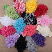Wholesale Tulle Flower Crochet Headband - 50 pcs baby Headwear Head Flower Hair Accessories 4 inch Tutu tulle Chiffon flower with soft Elastic crochet headbands stretchy hair Gray