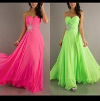 Wholesale Coctail Gowns - Free Shipping Lime Green Prom Dresses Cheapest Sweetheart Beaded A Line Long Evneing Formal Dress Bridesmaid Gown Coctail Party Dress Stock