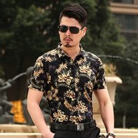 Wholesale hawaiian style - Wholesale-Summer new style fashion hawaiian tropical flowers men's shirt short sleeve man summer floral shirt