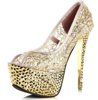 Wholesale Golden Prom Shoes - Fashion Glitter Beads Prom Pumps Femme Sexy Platform Wedding Peep Toes Black Golden Nightclub High Heels Shoes For Women