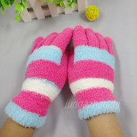 Wholesale Thermal Fingers Gloves Female - Wholesale-Free Shipping 2015 new fashion wholesale Sexy beautiful Thermal coral fleece winter five fingers gloves winter plush warm female