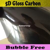 Wholesale carbon fiber rolls wholesale - Premium Black5D Carbon Fiber Vinyl Wrap Car Wrap Film Air Bubble Free Gloss 5D Carbon Fibre Vehicle Wrapping Film size 1.52x20m Roll