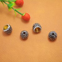 Wholesale End Caps Findings For Jewelry - 20pcs Pave Rhinestone Ends Buckle Bead Caps For Round Leathers Jewelry Making Finding