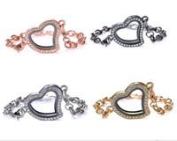 ingrosso braccialetti galleggianti di blocco-New Magnetic Floating Locket Glass Heart Living memoriale gioielli fai da te 4colors bracciali locket in acciaio inox vetro impermeabile
