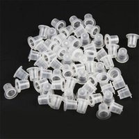 Wholesale Tattoo Ink Cap Sizes - Small Size 100 pcs set Plastic Tattoo Ink Cups Caps Pots Pigment Supplies Art Body Tattoo Tools Hot Selling
