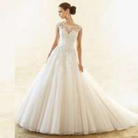 Wholesale Heavy Gowns - 2016 Completed Ivory Vestidos De Novia Girls Big Ball Bridal Gown with Heavy big Chapel Train Organza Wedding Dresses Appliques
