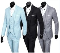 Wholesale Casual Slim Fit Business Suits - In Stock Latest Mens Wedding Suits Korean Version Slim Fit Groom Tuxedos Man Business Casual Suit Mens Suits Formal Prom Suits