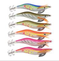 ganchos de sepia al por mayor-Calamar de camarón de madera señuelo 2.5 # Ganchos de pesca luminosos 10cm 11g 6 colores Jibias crankbait Cebo Artificial Calamar