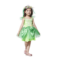 Wholesale Fairy Costumes For Kids - tinkerbell dresses for girls fairy dress kids costume green tinkerbell Halloween Costume Carnival Party Fancy Dress with flower headbands