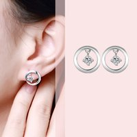 Sweet Big Round Crystal Charms Boucles d'oreilles 925 real silver e618 gift Fashion New Girls Jewelry Brincos de Prata