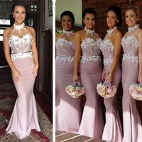 Wholesale Cheap Handmade Dresses - Luxury Sheath Bridesmaid Dresses With Applique Sashes Halter Bridemaids Gowns Handmade Party Dress Cheap In Stock Prom Bridemaid Dress