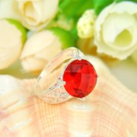 Wholesale Statement Pieces Wholesale - 10 Pieces 1 lot Classic Statement Round Fire Red Quartz Gems 925 Sterling Silver Rings Russia American Australia Weddings Rings Jewelry Gift