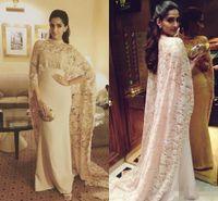 Wholesale Cape Styles - Princess Aso ebi style 2016 Mermaid Evening Gowns With Cape Lace Champagne Dresses Plus Size Chiffon Celebrity Dress Long Saudi Arabic