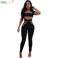ingrosso donna clubwear uomo-HAOYUAN Pagliaccetti Womens Tuta Bodycon Hollow Out Tuta 2017 Autunno Nero Rosso Body Body Sexy Clubwear Tuta Fasciatura q1110