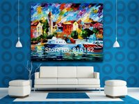 Wholesale Painting Large - Palette Knife Oil Painting Yachts Moored in Large Harbor Picture Printed On Canvas Wall Art For Hotel Office Home Decor