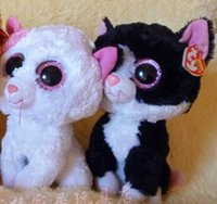Wholesale Wholesale Big Stuffed Animals - TY big eyes plush toys cat doll black and white 15cm 2pcs  lot stuffed animal doll for baby Beanie Boos