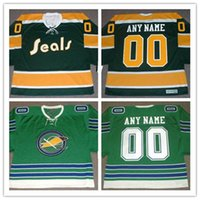 Hot! Men 's Green Custom CALIFORNIA GOLDEN SEALS 1970 \' s Throwback Vintage Hockey Jerseys Stitched Oakland Seals 1960 Personal Jerseys